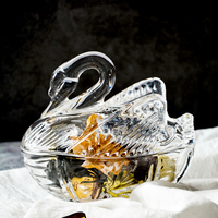 cute Crystal Glass Swan Statue Serving Bowl Decorative Storage Ornament jewelry/candy/ Accessories/fruit storage for