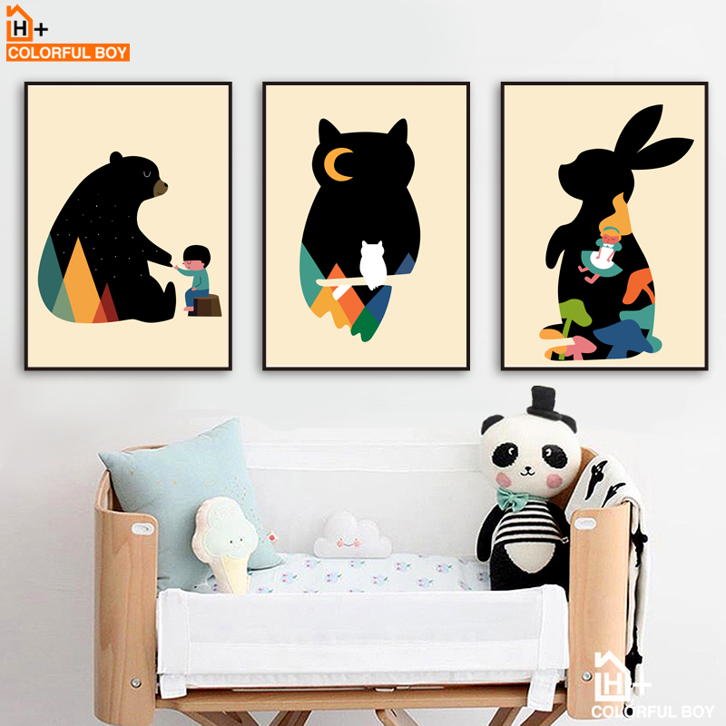 Bear Rabbit Owl Wall Art Canvas Painting Nordic Posters