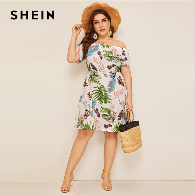 SHEIN Plus Size Multicolor Off Shoulder Jungle Leaf Print Boho Dress 2019 Women Summer Fit and Flare High Waist A Line Dresses