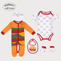 Guarantee Mother's Choice  Baby 5pcs set  Baby  Rompers set, long and short-sleeve Bib, Beanie, and Booties soft