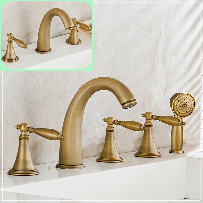 Good quality antique brass bathroom bath faucet deck mount widespread tub sink mixer taps roman Antique brass faucet bathroom