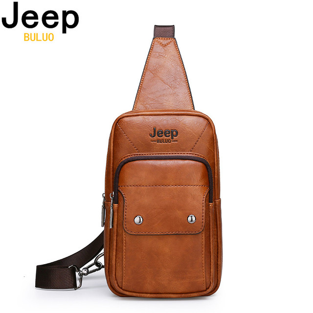 JEEP BULUO Big Brand Mans Chest Bag Fashion Men Leather Crossbody Sling Bags For Young Man Teenagers Students New Causual Cool