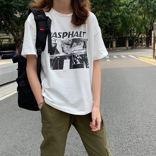 Mulheres primavera topos de verão 2019 bts ulzzang harajuku coreano roupas da moda personalidade do vintage print carta quadrinhos amigos camiseta