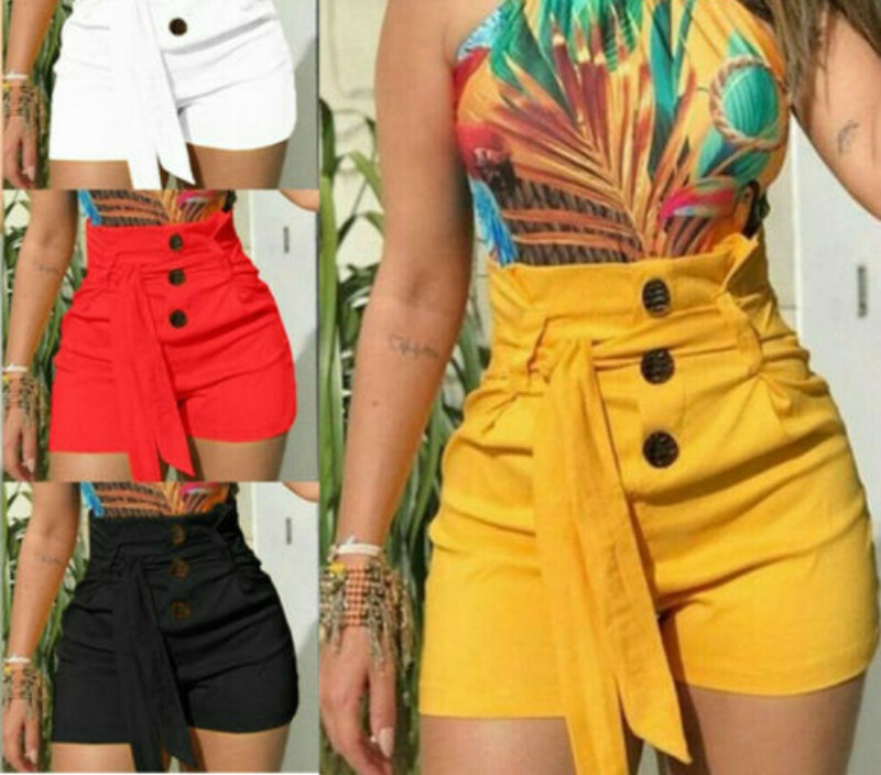 Women Summer Solid Lace Up Casual Button Stylish Shorts Belt Lounge Beach High Waist  Short Trousers