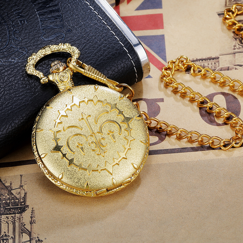 Vintage Luxury Golden Steampunk Quartz Pocket Watch With FOB Waist Chain Japan Anime Fans Cosplay Pocket Watch Women Mens Gifts