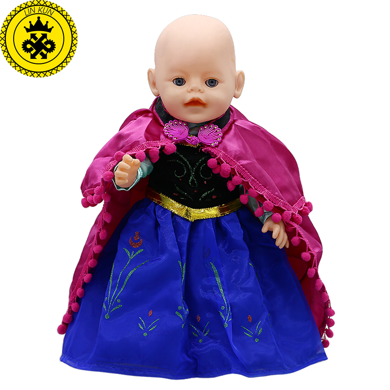 Baby Born Doll Clothes Anna Princess Blue Lace Long Dress Suit Fit 43cm Zapf Baby Born 43cm Doll Accessories 032  baby born doll clothes pink retro princess dress fit 43cm baby born zapf or 17inch doll accessories high quality love 182