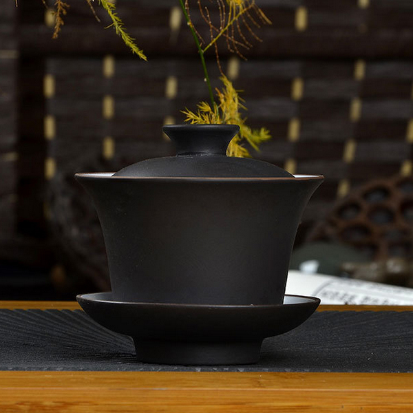 High Quality Teaset Elegant Gaiwan Chinese Tea Cup Purple Clay Tureen 120ml Lid Bowl Saucer Tea Brew Tea Cup