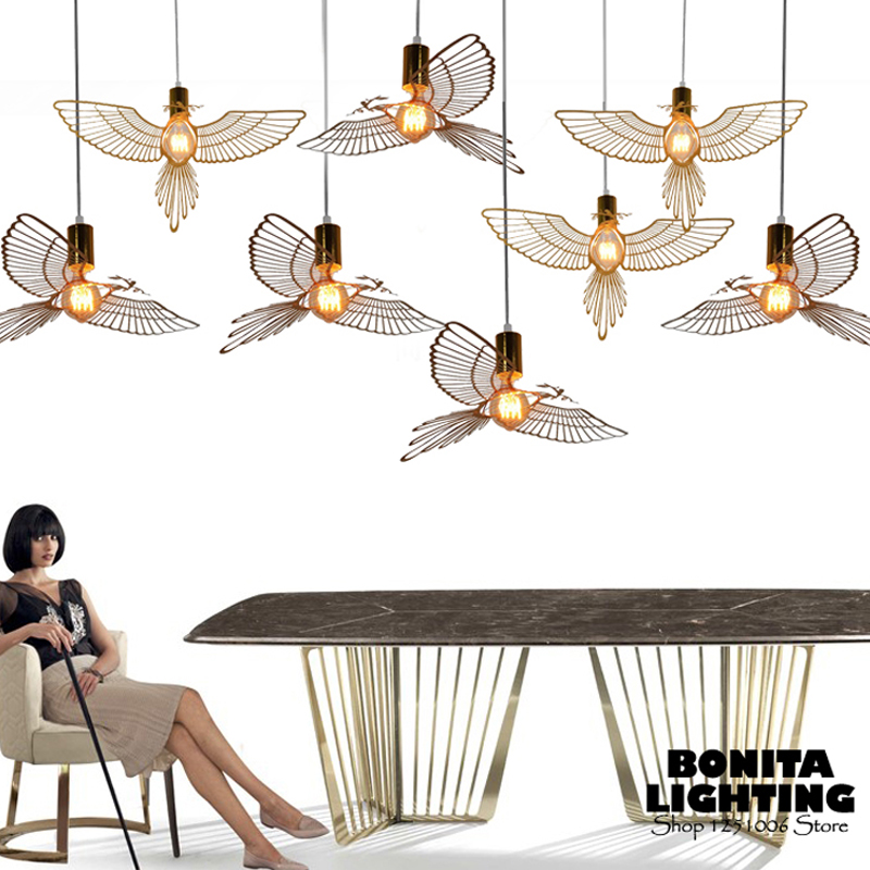 Pendant Lights Dinning Room Modern Stainless Steel Hollow Bird Pigeon Olive Branch Peace And Love Hanging Lights Bedroom