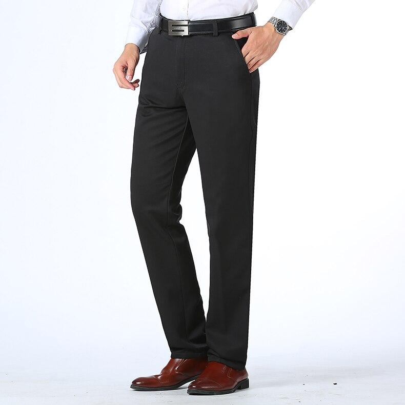 HTB18PgfDeGSBuNjSspbq6AiipXa8 Autumn Winter Men Warm Fleece Classic Black Cotton Pants Mens Business Loose Long Trousers Quality Casual Work Pants Overalls