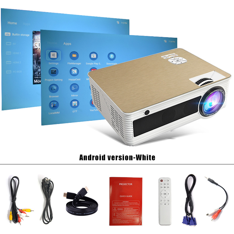 Touyinger M5 LED HD Projector 4000 Lumens ( Android 6 0 Bluetooth 5G WiFi  4K Optional) TD86 Beamer Video Home Cinema 1080P 3D