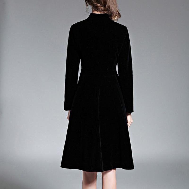 Elegant Black Velvet Dress Winter Dresses Women 2018 Vintage Long