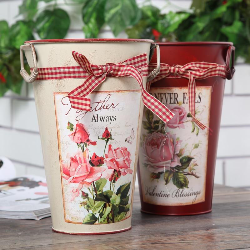 Rural Style Flower Tub Painting Vase Tin Bucket Desktop Floor Decor ...