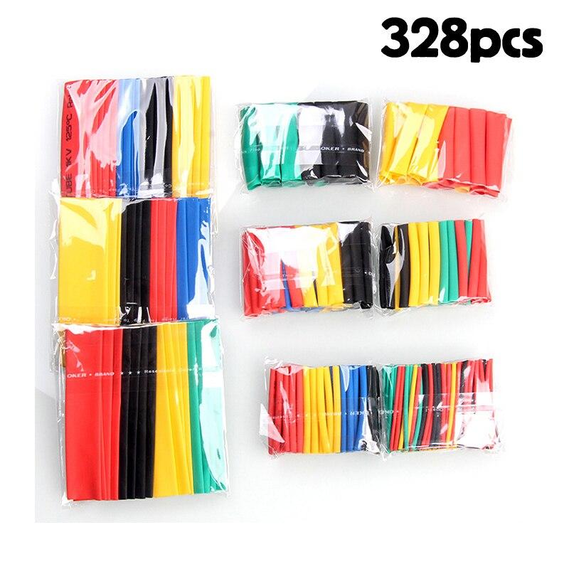 328 шт./компл. Комплект проводов для автомобильных электрических кабелей, термоусадочная трубка, 8 размеров, смешанные цвета