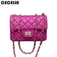 Cecelia 2017 New Fashion Leather Messenger Chain Bags Brand Desinger Rhombic Women Mini Tote Clutch Bag