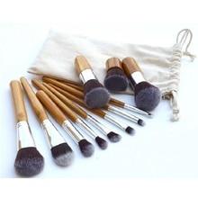 Professional 11Pcs Makeup Brushes Cosmetics Tools Natural Bamboo Handle Eyeshadow Blush Soft Cosmetic Brush Set With linen Bag
