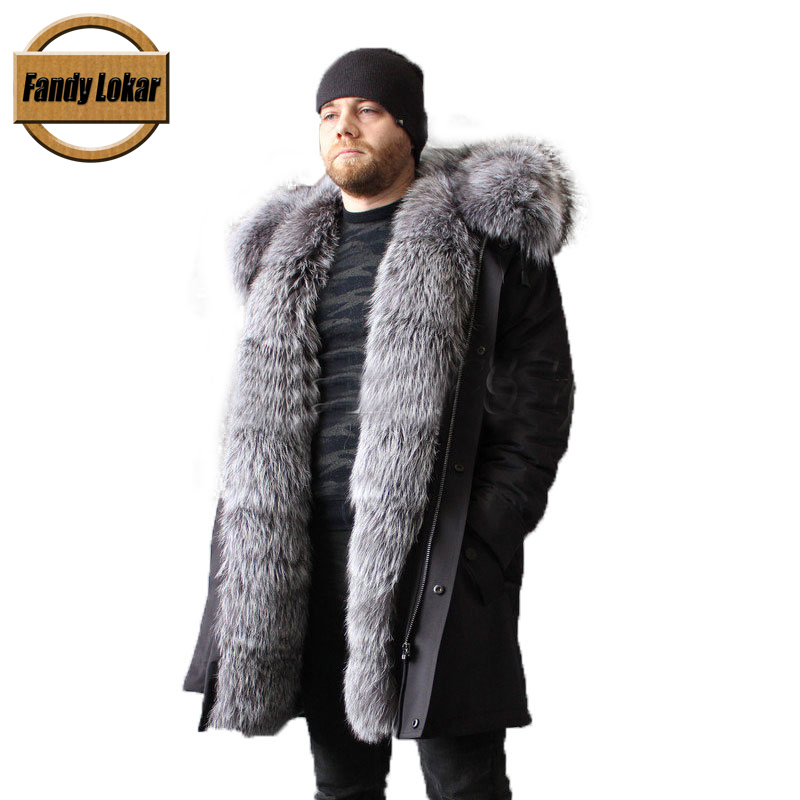 Fandy Lokar Real Fur Parka Men Winter Jackets Nature Sliver Fox Fur Hooded Coat Real Rabbit Fur Lining Jacket Men Real Fur Coats