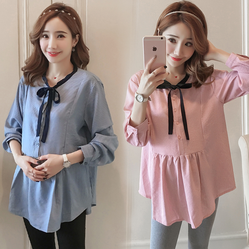 Okaymom Autumn Maternity Blouse Shirt Dress Korean Ol Blue White Loose Top Tees For Pregnant Women Pregnancy Wear Clothes 2018 Maternity Clothing Blouses &shirts