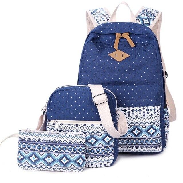 cf77922c37 3 Pcs Set Girl School Bags For Teenagers Girls backpack set Women Shoulder  Bag Purse Travel Bags 2017 Schoolbag mochila
