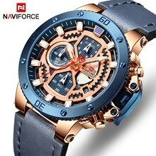 NAVIFORCE relojes deportivos para hombre, de cuarzo, de cuero, automático, con fecha, militar, resistente al agua, masculino