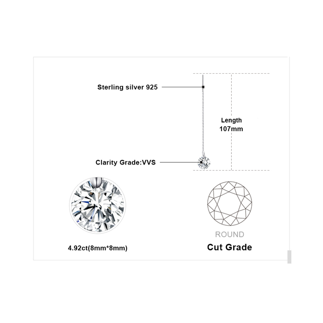 JewelryPalace 925 Sterling Silver 6.4ct AAA Cubic Zirconia 8*8mm Round Long Earrings For Women Silver 925 Jewelry Earrings 2019