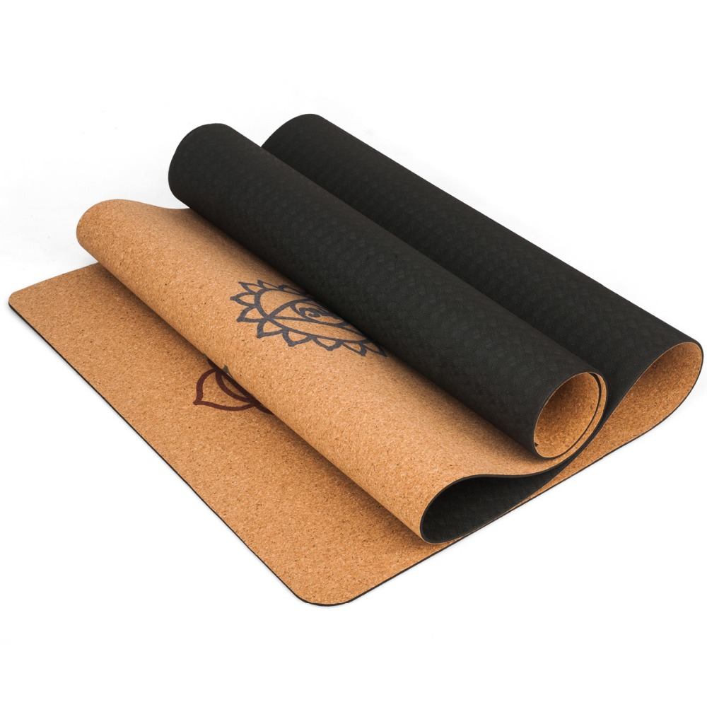 183X68cm Natural Cork TPE Yoga Mat Fitness Gym Sports Mats Pilates Exercise Pads Non-slip Yoga mats 5mm Absorb Sweat Odorless 1