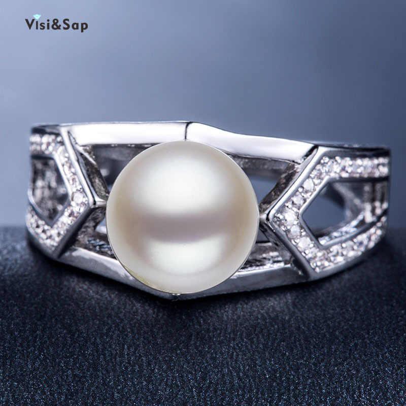 Visisap Elegant ขนาดใหญ่เลียนแบบ Pearl แหวนกว้างนิ้วมือครบรอบแหวนเครื่องประดับอินเทรนด์ผู้ผลิต B946