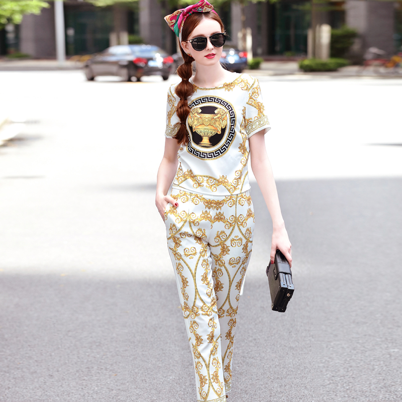 High Quality Summer Brand New Runway Set Women s 2 Pieces Pants Set Fashion Short Sleeve