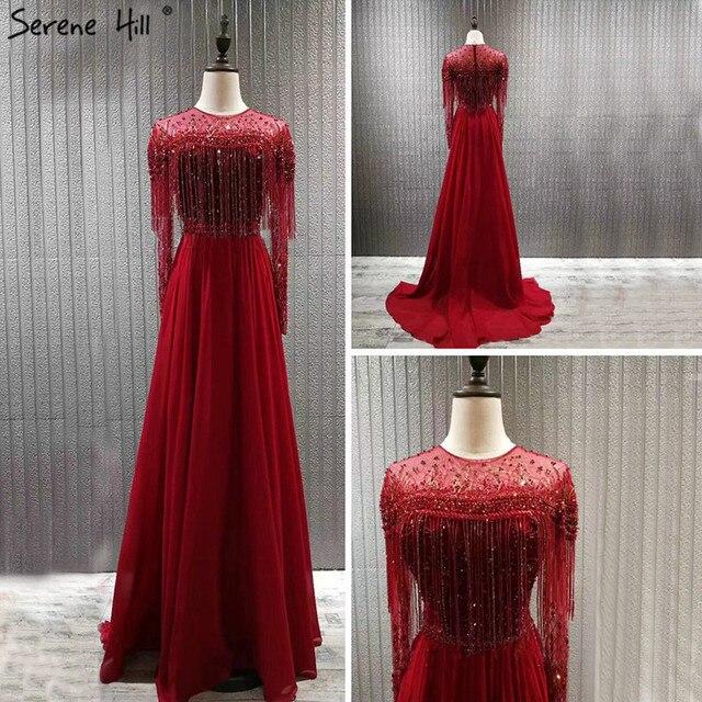 אדום ארוך שרוול דובאי עיצוב שמלות נשף O צוואר ואגלי ציצית יוקרה לנשף שמלות 2020 Serene היל BLA60849