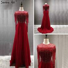 Red Long Sleeve Dubai Design Prom Dresses O Neck Beading Tassel Luxury Prom Gowns 2020 Serene Hill BLA60849