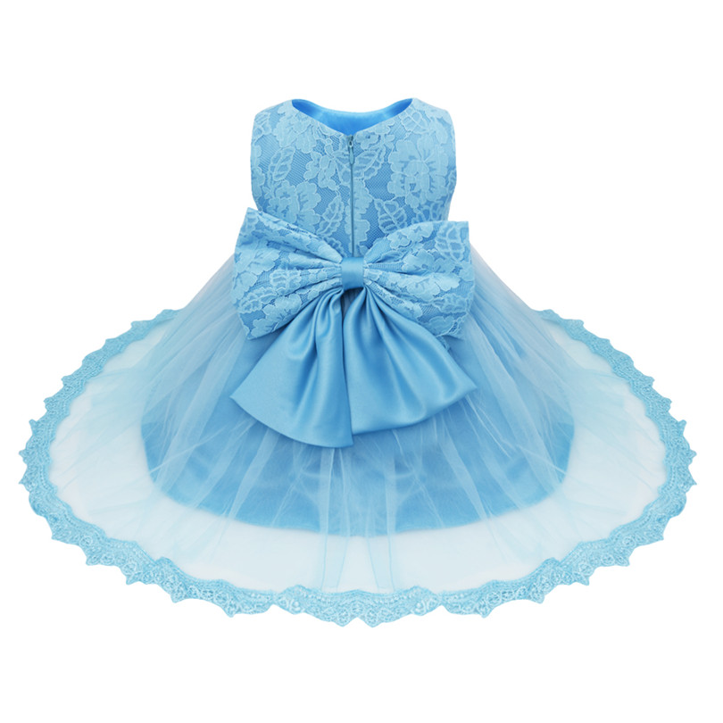 2020 Infant Baby Girls Flower Dresses Christening Gowns Newborn Babies Baptism Embroidered Princess Birthday White Bow Dresses