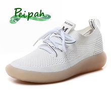 PEIPAH الربيع تنفس شبكة النساء أحذية رياضية عادية الدانتيل يصل Zapatillas Deportivas موهير الصلبة المدربين المرأة أحذية مشي