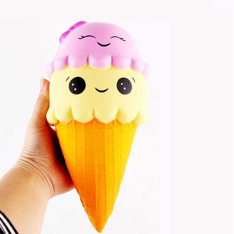 Double Smiley Ice Cream Kawaii Squishies Slow Rising Soft Squeeze Relieve Pressure Squishy Bread Toys Phone Decor Gifts Dropship