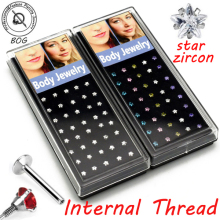 BOG-Lot 40 Pieces Internally Threaded Claw Set Zircon Crystal Star Labret Tragus Stud Piercing Jewelry
