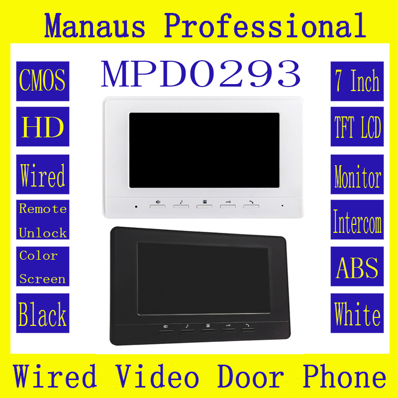 D293b Smart Home 7 Inch Touch Screen Video Intercom Phone ABS Engineering Plastics Indoor Monitor Video Doorphone Without Camera