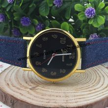 100pcs/lot Fashion Geneva Gold Dial Watches 2016 Jeans Canvas Watch Women Men Quartz Hours Ladies Dress Casual Wristwatches