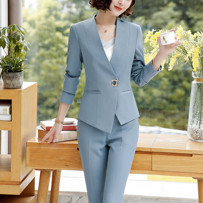 Lenshin 2 Pieces set Asymmetrical Formal Pant Suit Office Lady Uniform Designs for Women Business Suits Work Wear