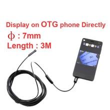 3 meter length 7mm diameter endoscope camera video record endoscope CAM checking camera cctv accessory OTG function