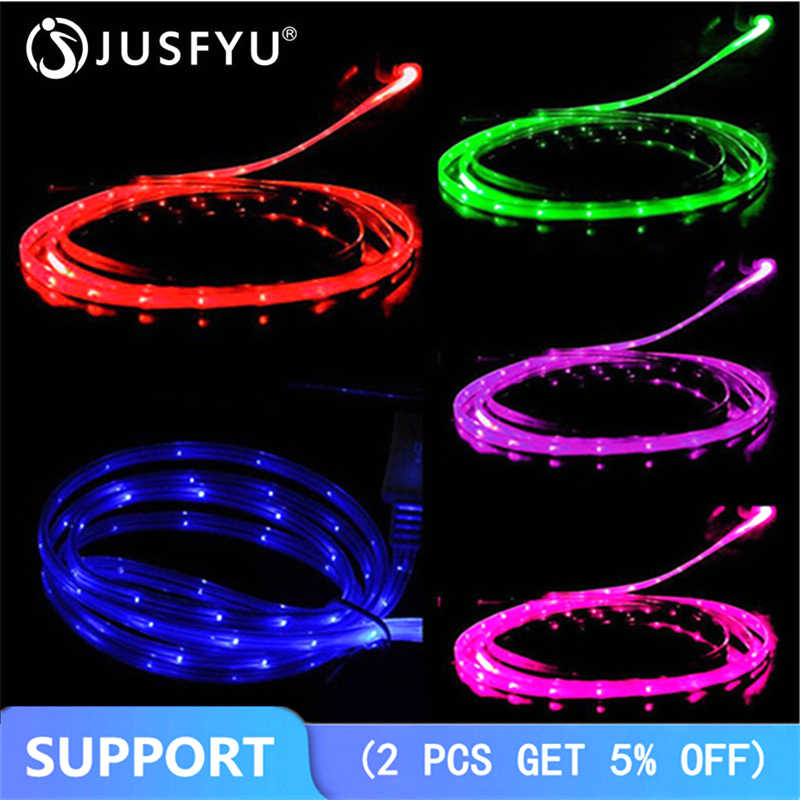 1M SMILE Grow LED Micro USB Cable ก๋วยเตี๋ยว FLAT Micro USB สำหรับ Samsung สำหรับ HTC สำหรับ iPhone 5 6S 7 8 PLUS X Android