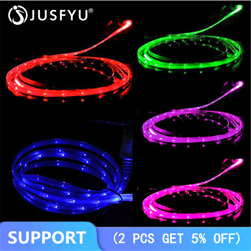 1M Smile Grow LED Micro USB Cable Light Noodle Flat Micro Usb Charger Cord For Samsung For HTC For IPhone 5 6S 7 8Plus X Android