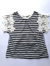 Princess Party Dress Black And White Stripes Summer Girl Embroidered Flowers Girls Childrens Clothing