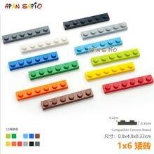 20 adet/grup DIY blokları bina tuğla ince 1X6 eğitim birimi inşaat oyuncakları çocuklar için lego ile uyumlu