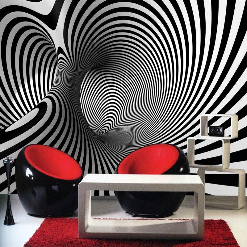 US $8.7 42% di SCONTO|Beibehang dimensionale nero bianco astratta artistico  sfondo divano moderno camera da letto murale carta da parati murale studio  ...