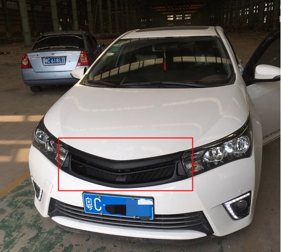 Matte black Front Grille Around Trim Racing Grills Trim For Toyota Corolla 2014-2016 abs chrome front grille around trim racing grills trim for 2013 hyundai santa fe ix45
