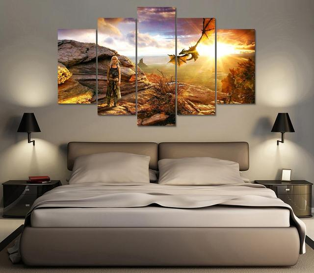 Wall Art Poster Home Decoration Modern Canvas 5 Panel Game Of Thrones For Living Room HD Print Painting Modular Pictures Frame  2