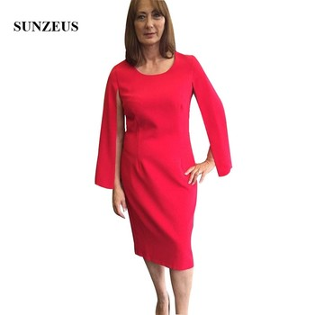 Red Mother Of The Bride Outfits Sheath Tea Length Lady Dress With Cap Sleeves Simple Elegant Bride Mother Evening Dress