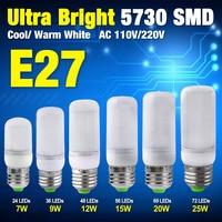 Low Heat Lampada LED E27 Lamp Milky Cover AC 220V 110V SMD 5730 LED Bulb E27 mini Ultra Bright Chandelier Lights 7W To 25W