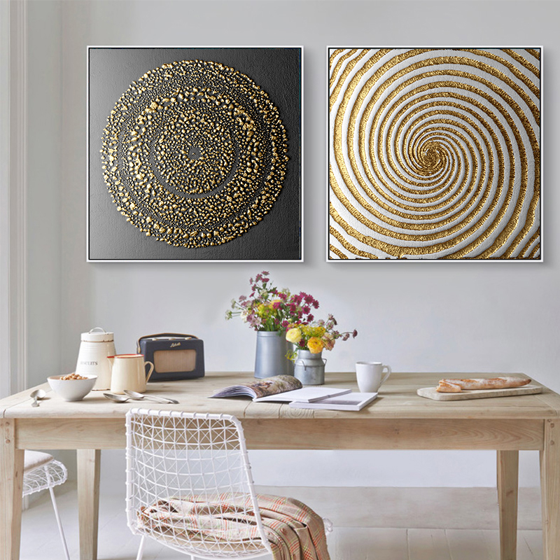 Poster Painting Wall-Picture Figure Art-Printed Abstract Gold Canvas Living-Room Black title=