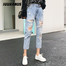 IUURANUS Blue Ripped Distressed Boyfriend Ankle Denim Jeans Women Casual Summer Autumn Plus soft Ankle Length Women Jeans distressed top denim ankle boots