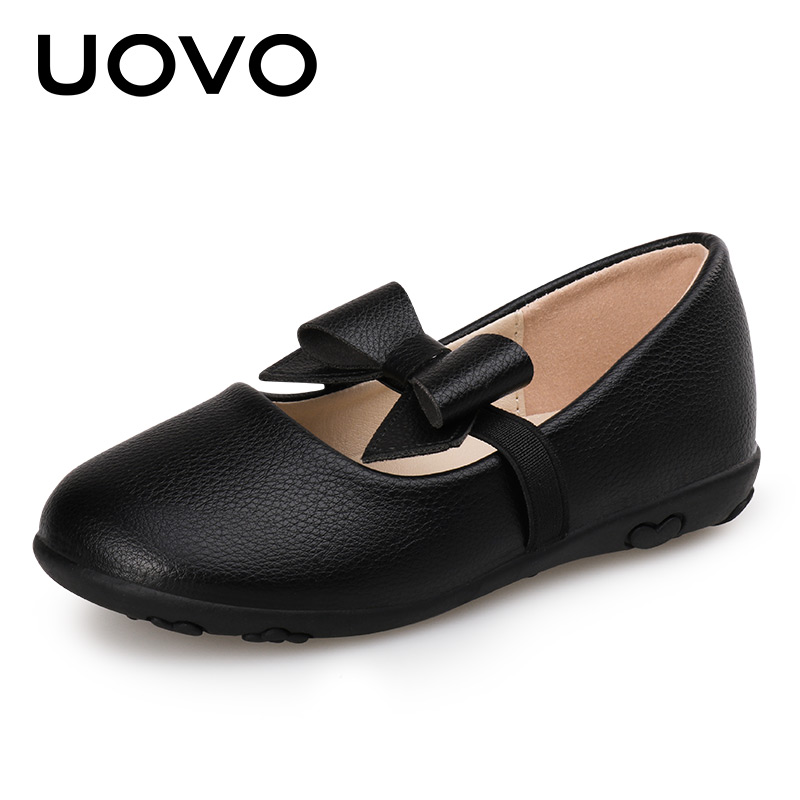 Summer Shoes For Girls Ballet School Shoes UOVO 2018 PU leather Flat Black Dance Toddle Shoes With Bow Strap Eur# 22-27 ballerina wedding shoes women sweet candy ballet pointy pu leather shoes girls summer spring flat shoes butterfly bowknot