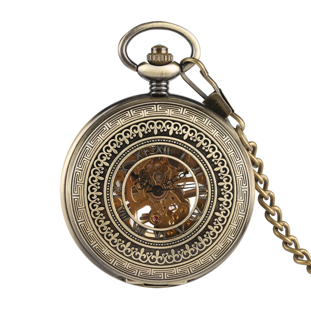 Men's Bronze Carved Pocket Watch, Mechanical Movement Pocket Watch For Boys, Golden Frame Hollow Roman Numeral Watches For Man
